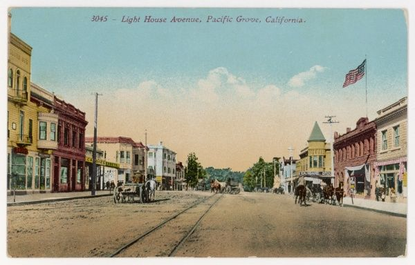 The wide Light House Avenue, in the days when horse drawn carriages and carts were still in use, Pacific Grove, California, USA