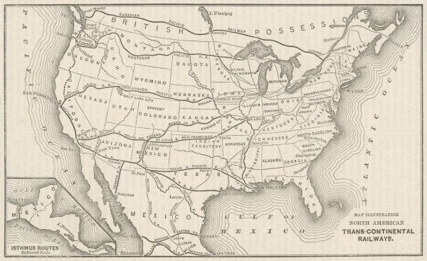 Transcontinental railway map of the United States of America and the adjoining British possessions. Date: 1883