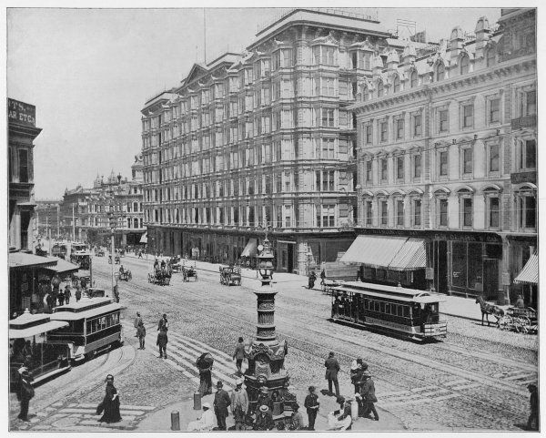 Market Street, San Francisco, California, with carts and electric trams