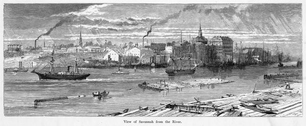 General view of the town from the far bank of the Savannah river