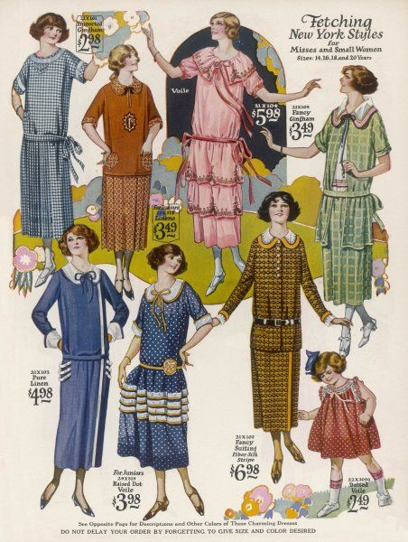 Selection of teenage fashions: tubular drop waist dresses or skirts & tunic style blouses in patterned prints with flounces, tiered skirts round collars & embroidery