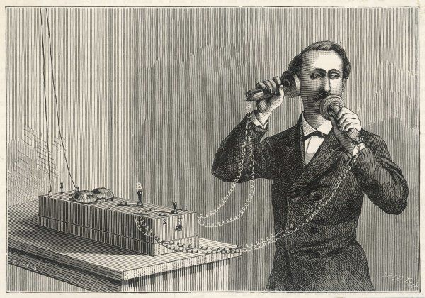 Using Bell's original telephone apparatus