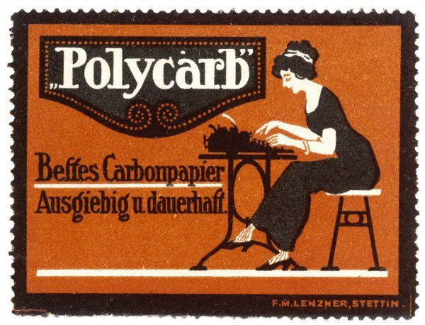 A stenographer uses 'Polycarb' carbon paper