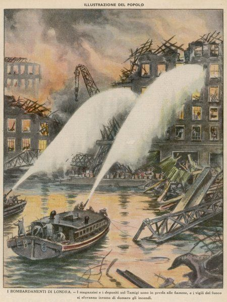 Using a fire hose to douse burning buildings from boats on the River Thames, London