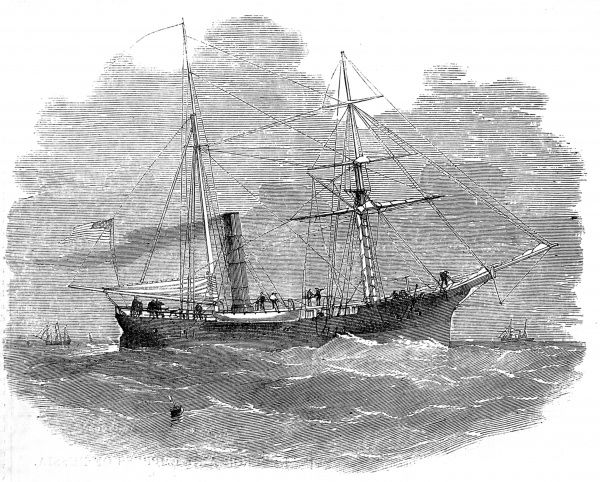 Engraving of the United States Navy Steamship 'Arctic', whilst involved in sounding the Atlantic. This project was undertaken in preparation for the laying of the first Atlantic Telegraph Cable