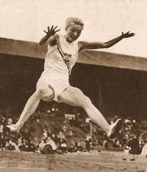 Hungarian athlete Gyarmati won the long jump event at the 1948 London Olympics. Date: 1948
