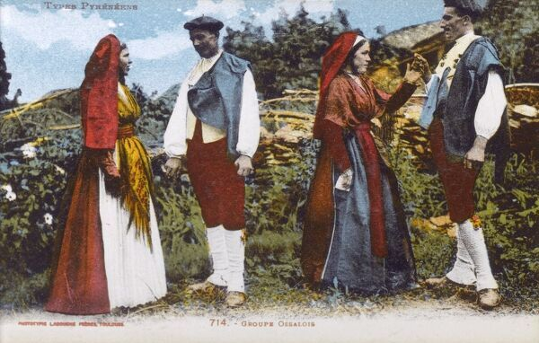 Two couples from the Val d'Ossau about to commence a local dance Date: circa 1910s