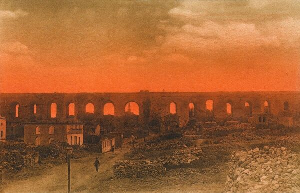 Setting of the sun on the ruins of the Byzantine Aqueduct, built by Emperor Valens in about 375 AD