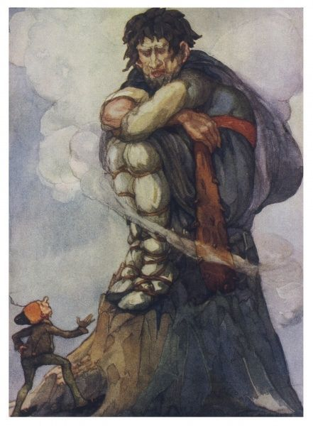 The valiant tailor encounters a great giant at the top of a hill