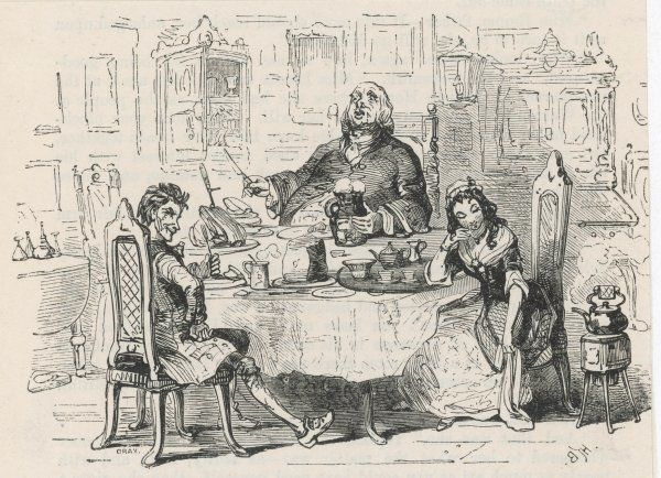 Simon Tappertit (left) joins Gabriel and Dolly Varden at the breakfast table