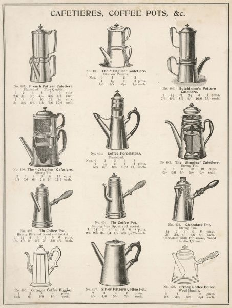A variety of coffee pots and cafetieres from a household goods catalogue