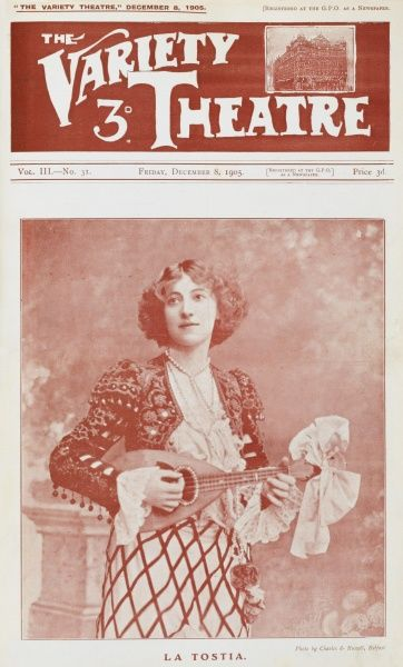 La Tostia, Music Hall entertainer, posing with a mandolin
