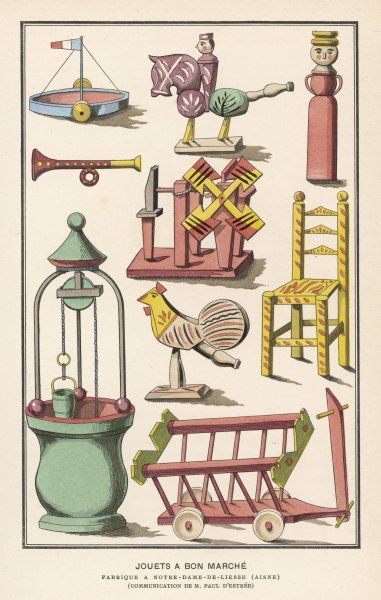 Various French toys available at Bon Marche, Paris. Date: 19th century