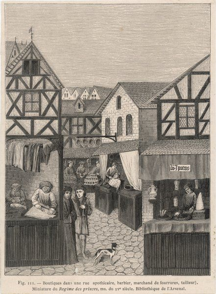 A scene showing various shops (Apothecary, Barber, Tailor, etc.)