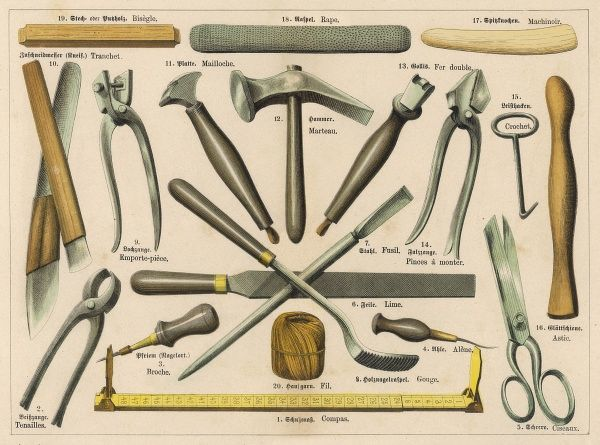 Various tools used by a shoemaker or cobbler, including scissors, pliers, hammers, a skewer, a ruler and strong thread