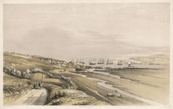 View of the Black Sea port : at the time of this picture it is under Turkish rule but it will be ceded to Bulgaria by the Treaty of Berlin 1876. Date: 1856