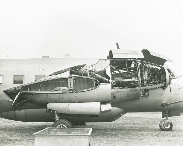 Varsity, an assymetric engine flying test bed displaying Eland turboprop power plant Date