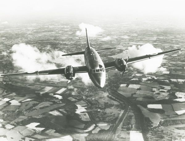 Varsity in flight, an assymetric engine flying test bed powered by an Eland engine Date