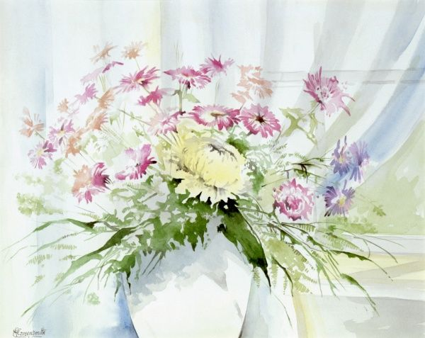 A vase of colourful flowers on a window ledge. Watercolour painting by Malcolm Greensmith