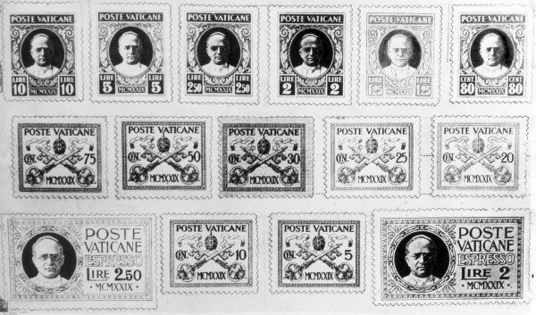 The complete set of Vatican stamps, showing Pope Pius XI (lived 1857 - 1939; Pope 1922 - 1939). Date: 1929