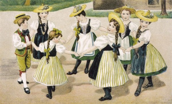 Seven boys and girls from the Vaud canton dance in a ring