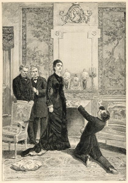 A scene from M. Cherbuliez's play, 'The Adventures of Ladislas Bolski. Here, Ladislas Bolski is shown at the feet of his mother, striking a rather dramatic, over-the-top pose
