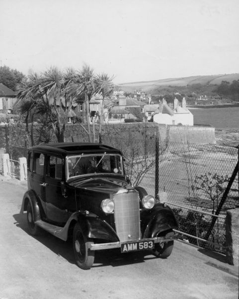 A Vauxhall Light Six, classic car, in a lovely setting, St. Mawes, Cornwall, England. Date: 1930s
