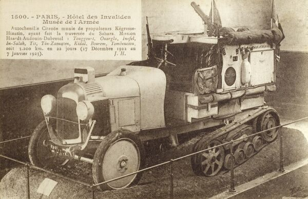 A Citroen caterpillar half-track vehicle which crossed the Sahara desert, travelling 3200km in 22 days between Touggourt, Algeria and Timbucktu in Mali (between 17th December 1922 to 7th January 1923). On display at the Army Museum - Hotel des Invalides