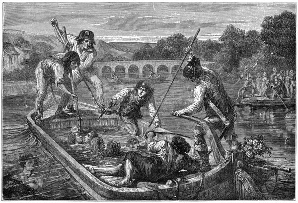 Carrier is the most ruthless of revolutionary commanders : at Nantes he orders royalist prisoners to be thrown into the river - 'les noyades (drownings) de la Loire&#39