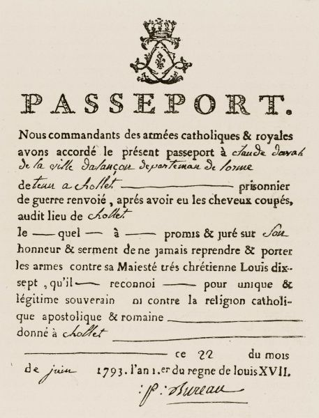 Facsimile of a passport issued at Chollet (Cholet) by the royalists in the Vendee by the commanders of the 'catholic and royal' armies of the Breton resistance