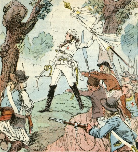 Charette de la Contrie, leader of the Vendee insurgents, in combat with the Revolutionary forces. Date: 1792