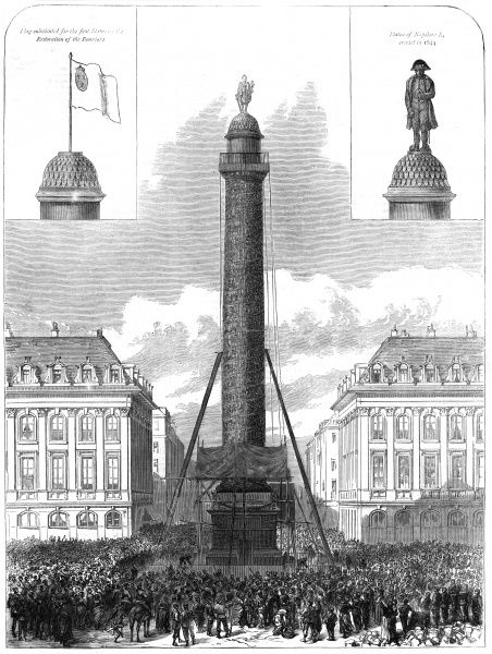 The column in the place Vendome, Paris, is pulled down by the Communards, as a symbol of the previous regime, at the instigation of artist Gustave Courbet. Date: 8 May 1871