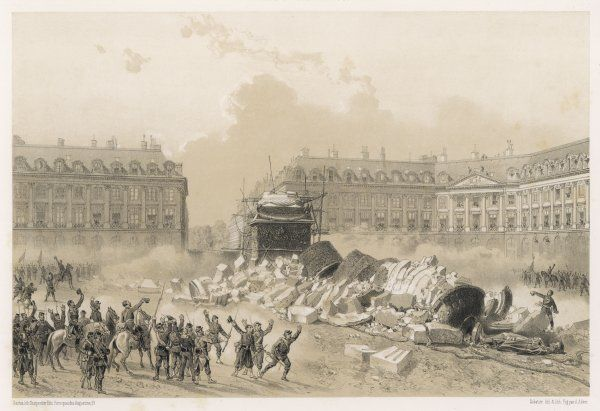 The Colonne de la Place Vendome, Paris, surmounted with a statue of Napoleon, is pulled down by the Communards