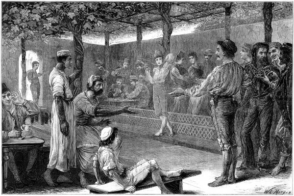 Engraving showing the scene inside a Venetian bowling alley, during a slight dispute over a game of 'ten pin' bowling, c.1876. Other attractions of this venue appear to be smoking, drinking and card gambling