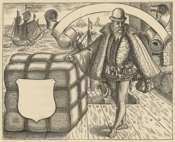 A Venetian merchant and his wares by the harbour