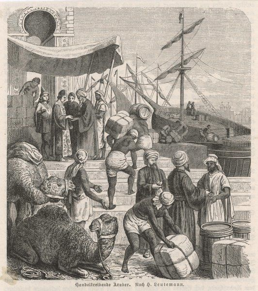 Venetians trading with Arabs in the Levant Date: circa 1400