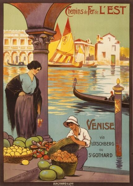 Attractive poster for the French National Railways, Chemin de Fers de l'Est, advertising Venice (or Venise) as a holiday destination
