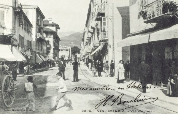 Via Cavour, Ventimiglia, Italy in Liguria, northern Italy, in the province of Imperia on the Mediterranean coast close to the border with France Date: 1904