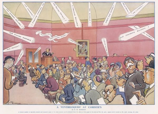 Double page illustration by H. M. Bateman showing a chaotic scene at London auctioneers, Christie's because of the actions of a mischievous ventriloquist. Bateman (1887-1970) was a popular artist and regularly contributed to the Sketch, the Tatler