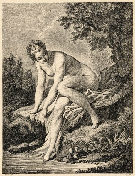 Venus prepares to bathe in a stream