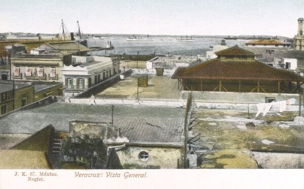 General view of the town of Veracruz in Mexico. Date: circa 1900s