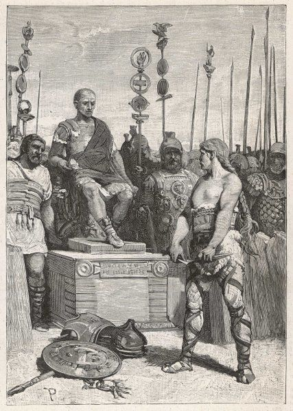 The leader of the Gauls, Vercingetorix, lays his arms before Caesar