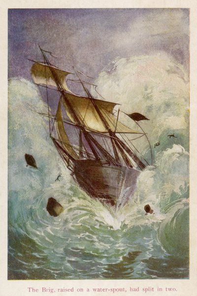 'L'ILE MYSTERIEUSE' [The mysterious island] The brig, raised on a water- spout, had split in two