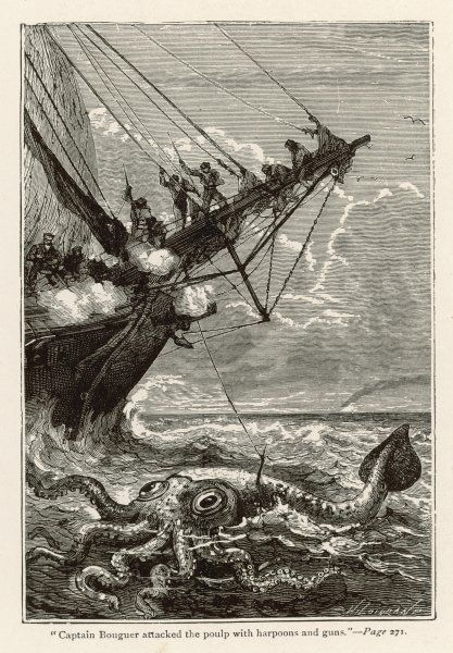 '20,000 LIEUES SOUS LES MERS' [20 000 leagues under the sea] Attacking a giant squid