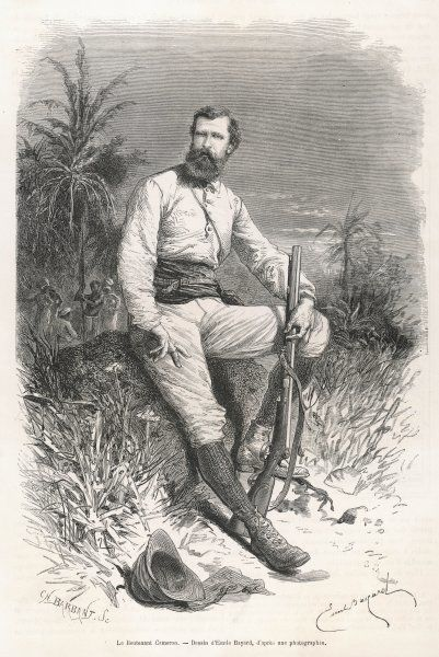 VERNEY LOVETT CAMERON Scottish explorer in Africa, depicted in his exploring gear in the heart of the African continent