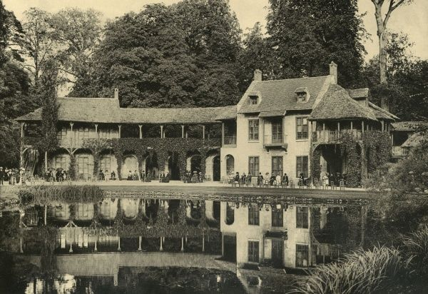 Le Hameau, the imitation farmhouse where Marie Antoinette spent her happiest hours. Date: circa 1904