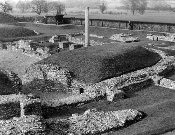The remains of the Roman city of Verulamium, St. Albans, Hertfordshire, England. Date: 1950s