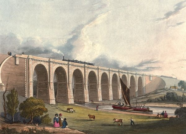 Viaduct across the Sankey valley (for the LMR), 1831 Date: 1831