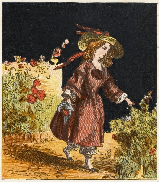 A Victorian girl in a garden, picking a nosegay for her mama and papa