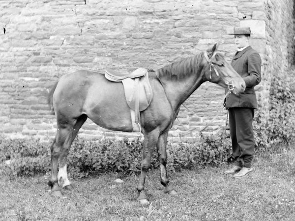 A vicar and his horse in front of a stone wall, probably somewhere in Mid Wales. They don't seem to like each other very much!